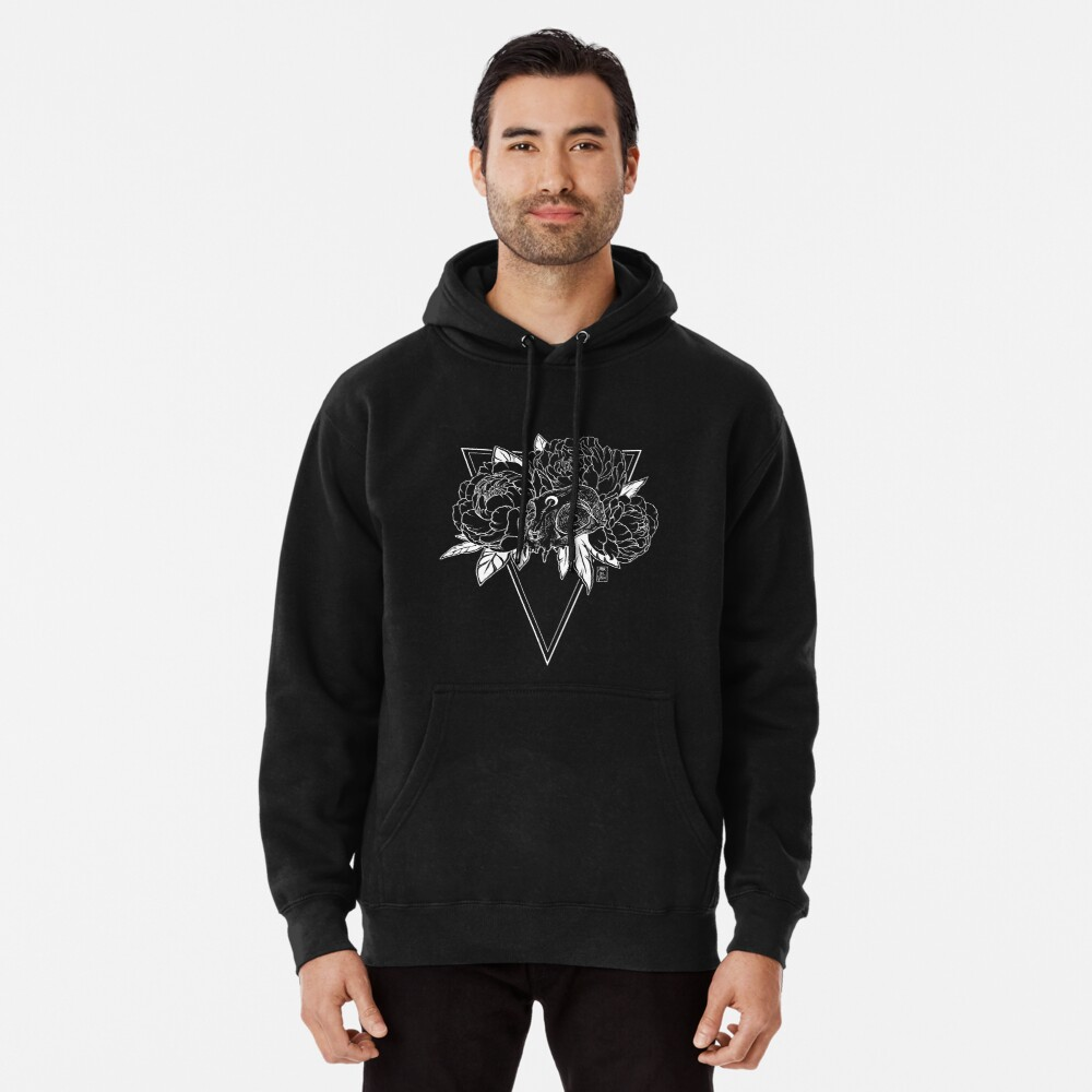 Cat Skull with Peonies - White Line Pullover Hoodie