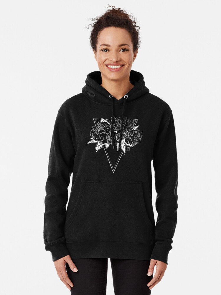 Alternate view of Cat Skull with Peonies - White Line Pullover Hoodie