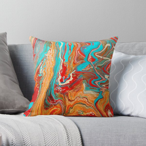 Red Orange Teal Paint Pour Throw Pillow