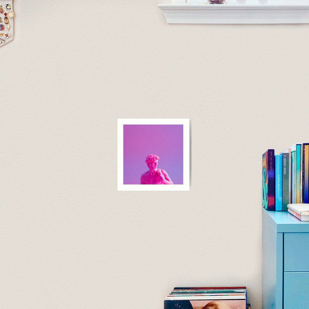 Neon purple vaporwave sculpture Art Print
