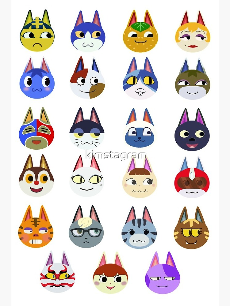 Animal Crossing New Horizons Cat Villagers Art Board Print By