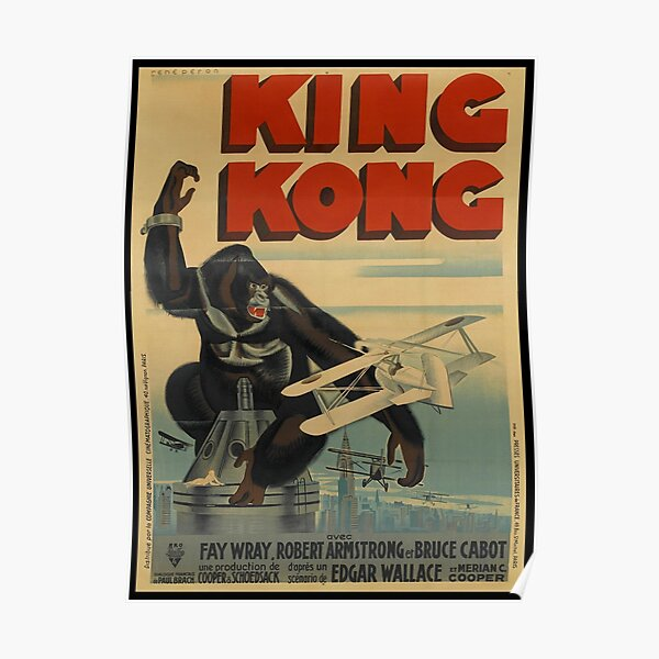 King Kong 1933 Art Deco French Grande Movie Poster Print. Poster