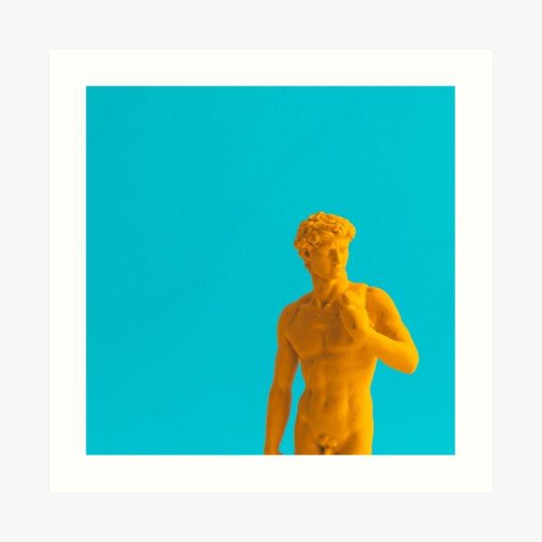 Yellow neon statue Art Print
