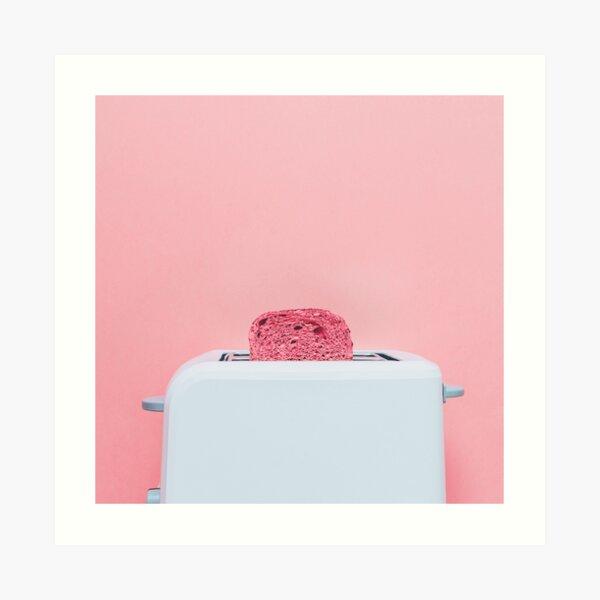 Pink toast in toaster Art Print