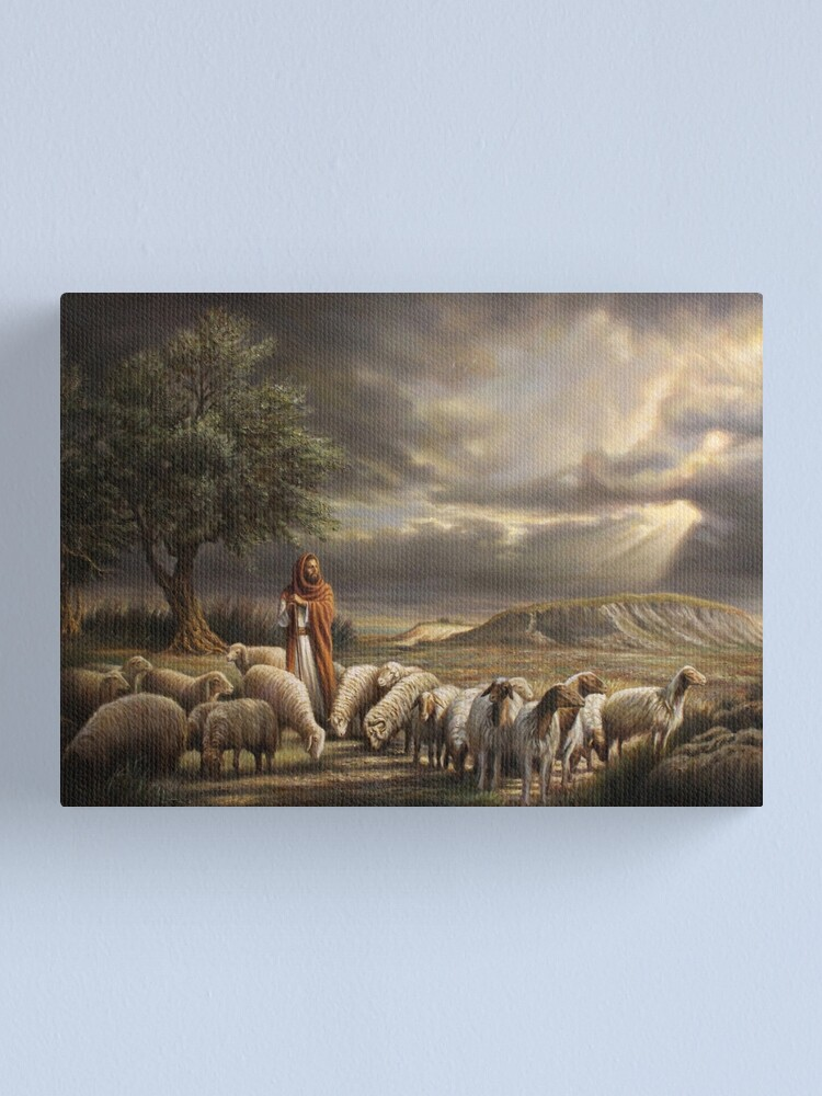 Alternate view of Shepherd with Flock Canvas Print