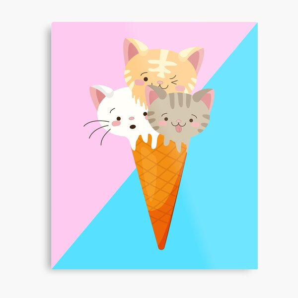 Cat Ice cream , Crazy Cat Lady, Cat T-shirt, Cat Lover T-shirt Metal Print
