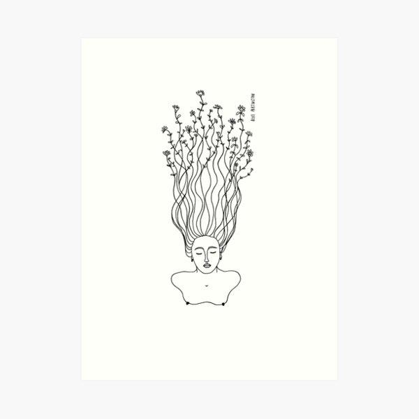 Grow Illustration Flower Hair Art Print