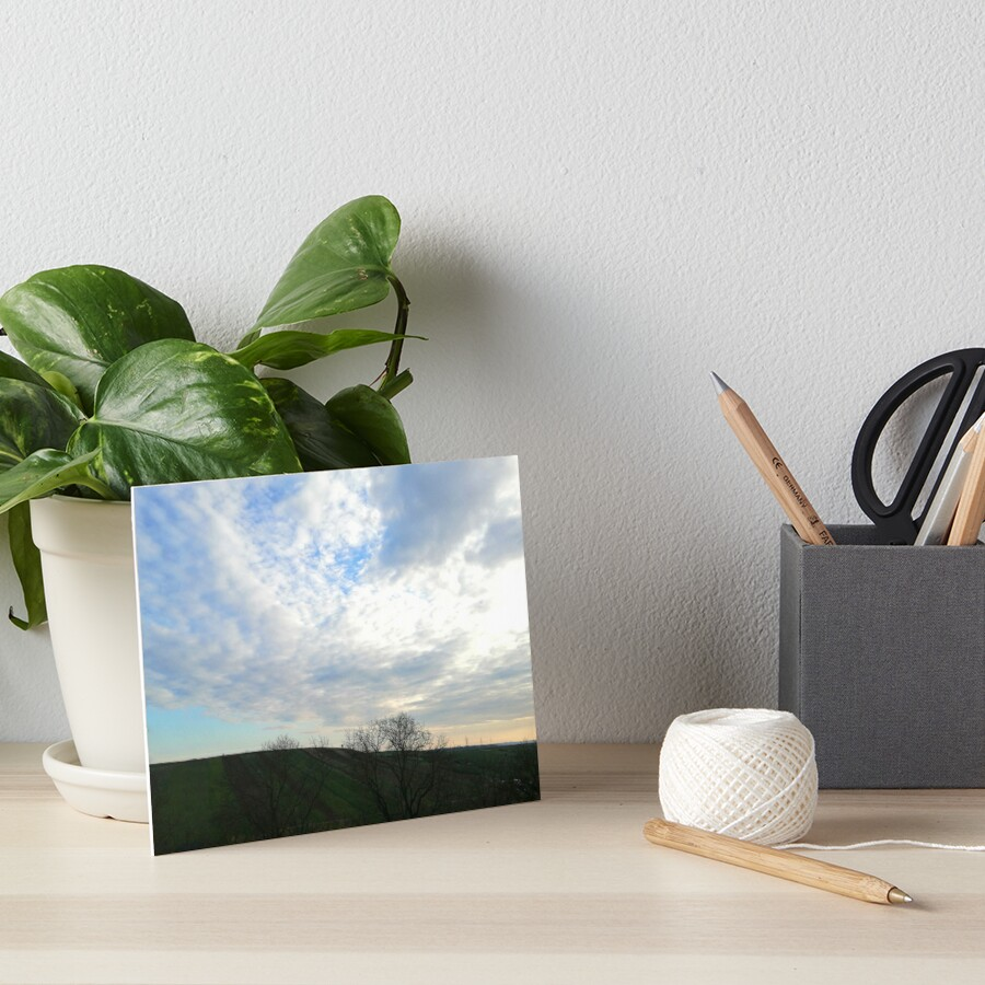 Mountain landscape at sunset, a few fluffy clouds and scattered skies in the sky, wonderful shades of colors Art Board Print