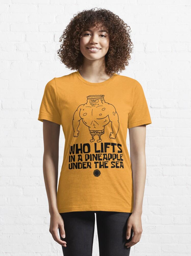 Alternate view of Spongebob - Who Lifts [Black] || Gym Gear Essential T-Shirt