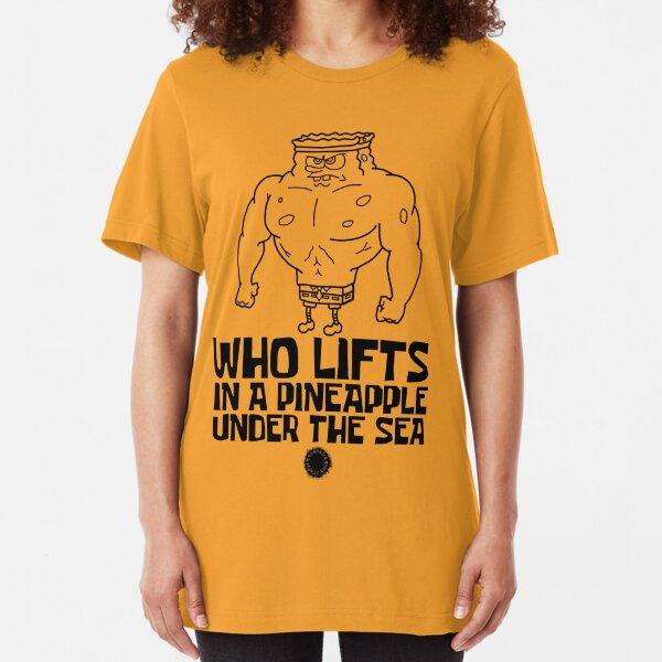 SpongeBob - Wer hebt [Schwarz] || Fitnessgeräte Slim Fit T-Shirt