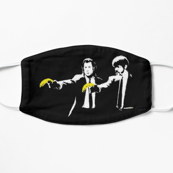 Banksy graffiti Pulp Fiction parody with bananas on Black background with grunge texture HD HIGH QUALITY ONLINE STORE Flat Mask