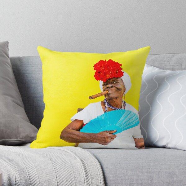 Cuban Woman In Havana With Cigar Throw Pillow