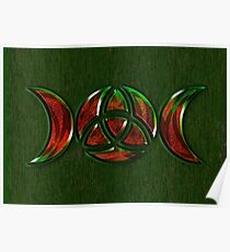 Triple Moon Goddess Symbol with Trinity Knot Poster