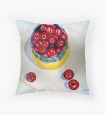 Bowl Of Cherries Throw Pillow