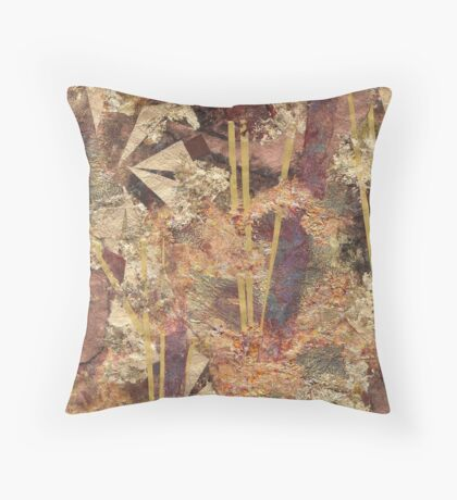 Encroaching black tarnish on gold and copper Throw Pillow
