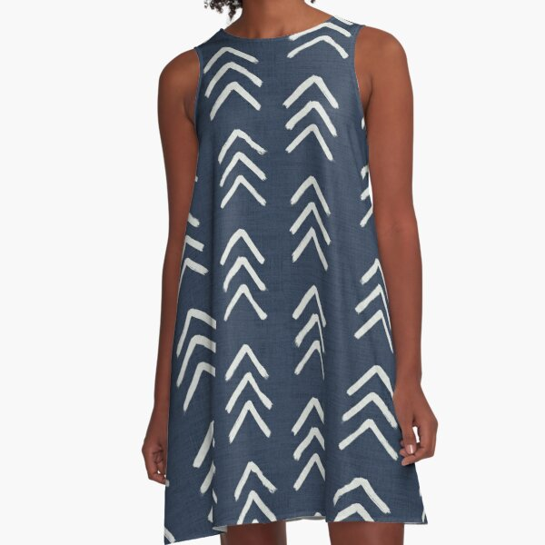 Denim and soft white brushed arrow heads pattern with textured cloth A-Line Dress