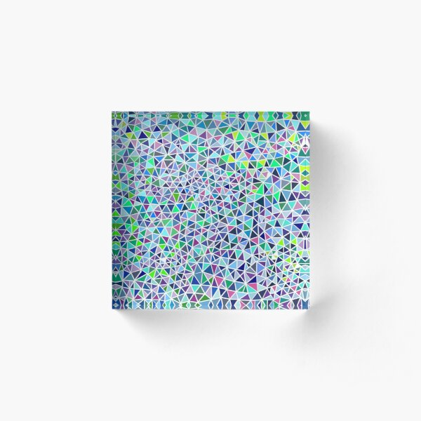 Blue Triangles Acrylic Block