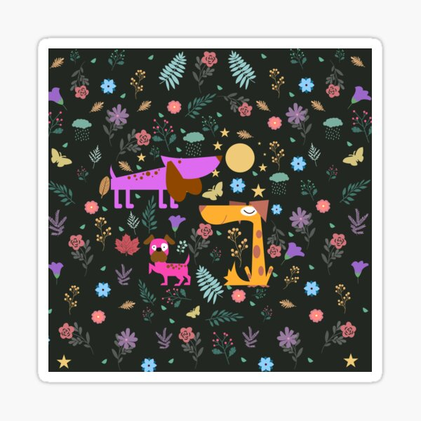 Dogs Are Awesome Midnight Floral Pattern  Sticker