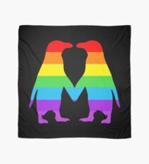 Rainbow penguins in love. Scarf