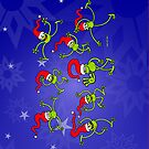 Christmas Frogs jumping, dancing and celebrating! by Zoo-co