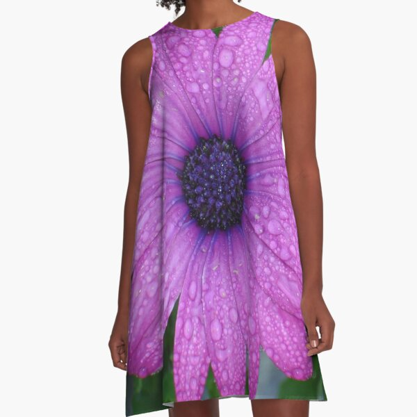 Purple African Daisy with Raindrops A-Line Dress