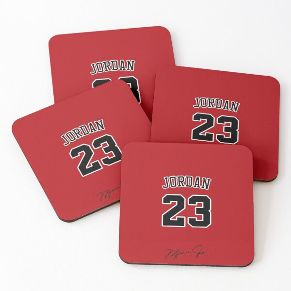 Michael Jordan with 23 Number RED Coasters (Set of 4)