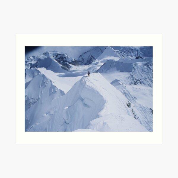 Downclimbing normal route of Baruntse (Nepal, 7129m) Art Print