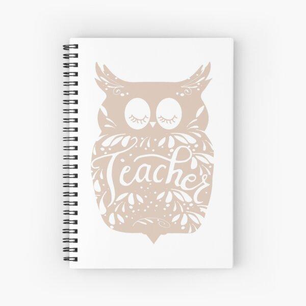 Teacher Owl Calligraphy Spiral Notebook