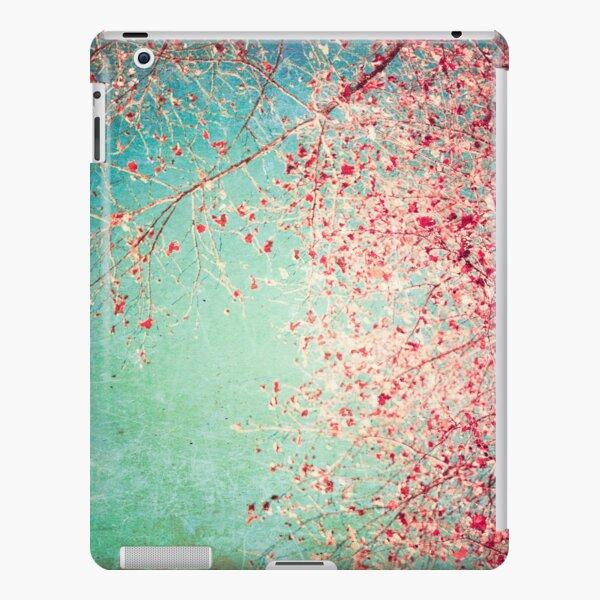 Pink autumn leafs on blue textured background iPad Snap Case