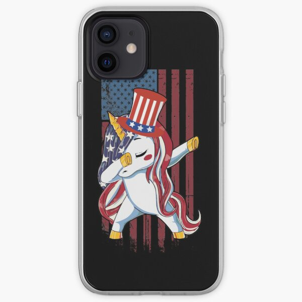 Dabbing Unicorn American Flag Funny 4th of July Independence Day Costume iPhone Soft Case