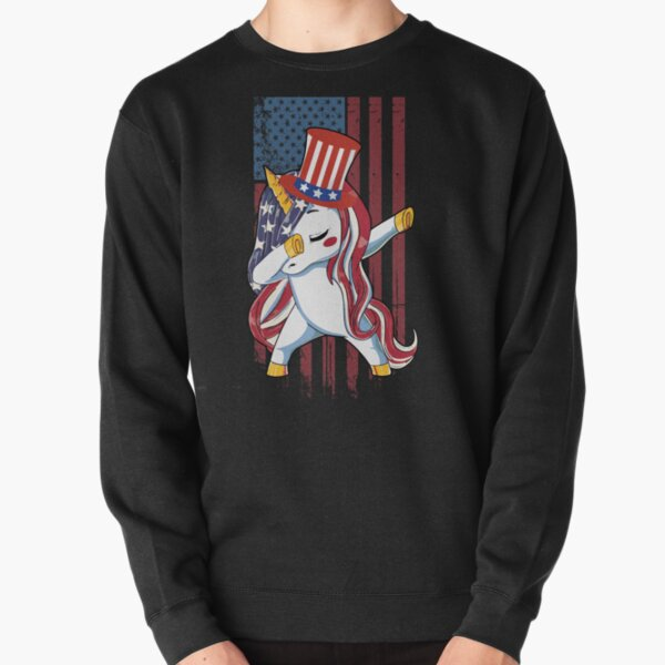 Dabbing Unicorn American Flag Funny 4th of July Independence Day Costume Pullover Sweatshirt