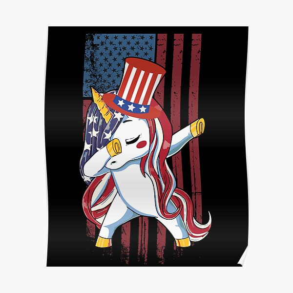Dabbing Unicorn American Flag Funny 4th of July Independence Day Costume Poster