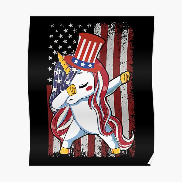 Dabbing Unicorn US Flag Cute 4th of July Independence Day Gift Poster