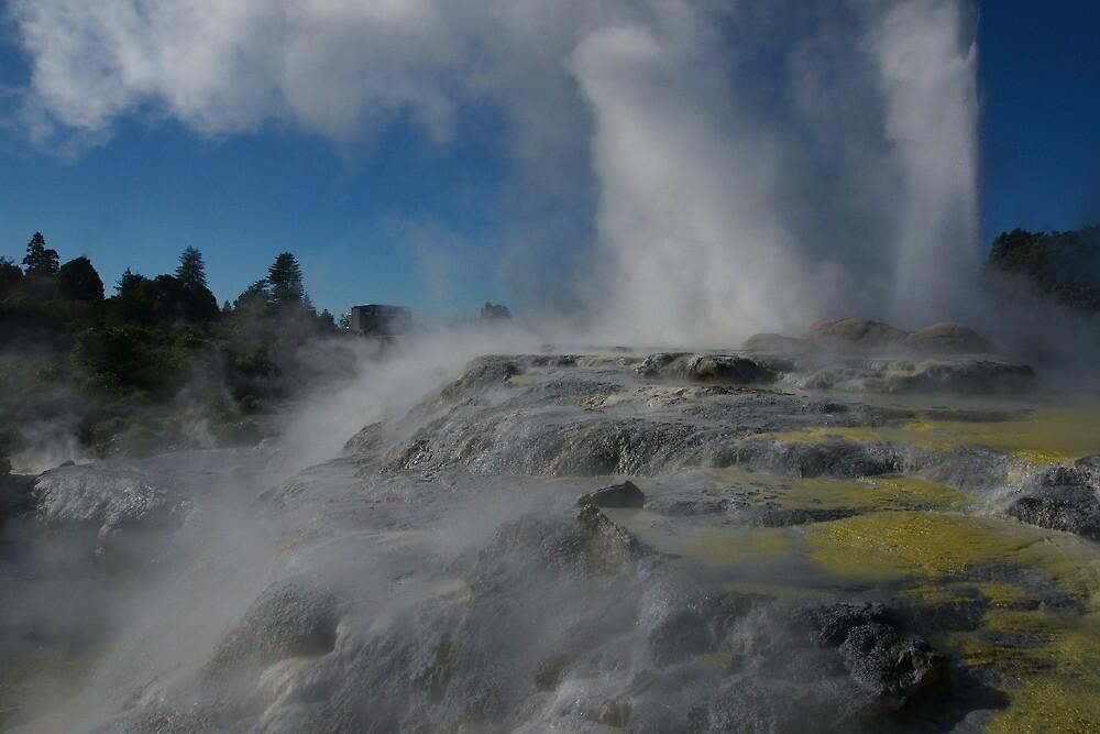 Pohutu Geyser, Te Puia. New Zealand. by Ian Hallmond