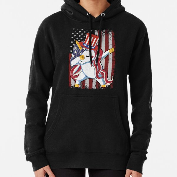 Dabbing Unicorn US Flag Cute 4th of July Independence Day Gift Pullover Hoodie