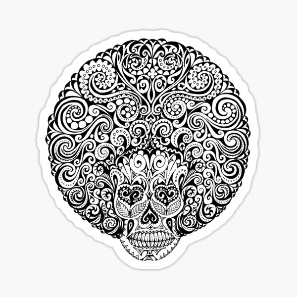 Psychedelic Afro Skull Sticker