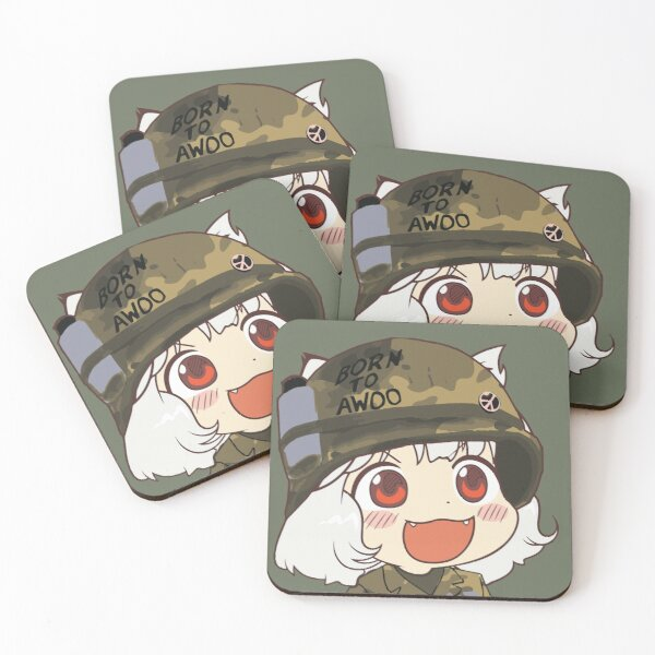 Awoo Anime girl big smile Kekistan Army Military Born to Awoo with Peace Symbol #TrumpAnime HD HIGH QUALITY ONLINE STORE Coasters (Set of 4)