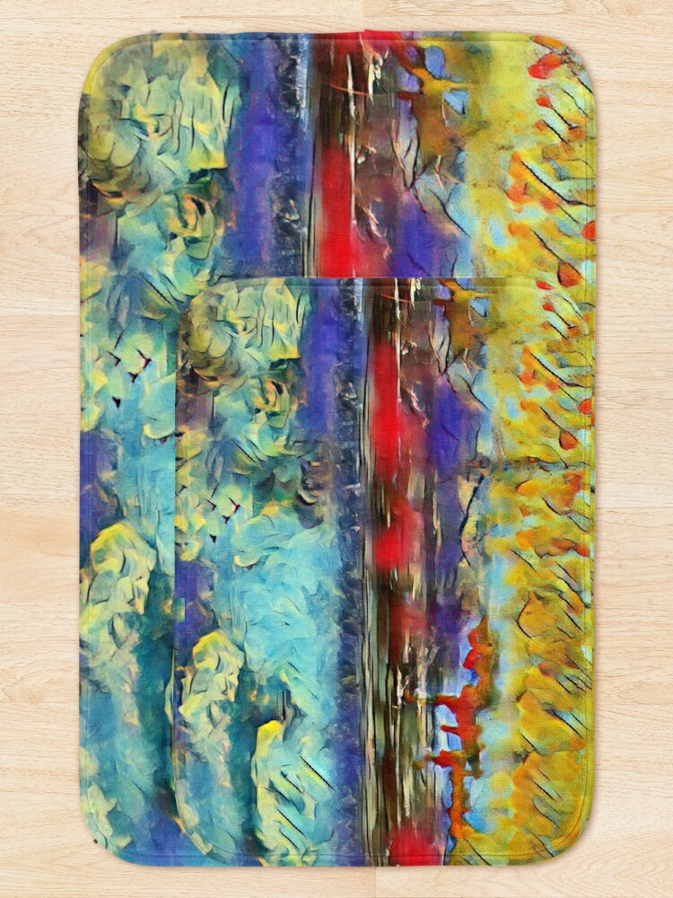 Alternate view of Seascape 1 a lovely original artwork created in acrylic and mixed media with a sprinkling of digital designed by (c) Janet Watson Art xx Bath Mat