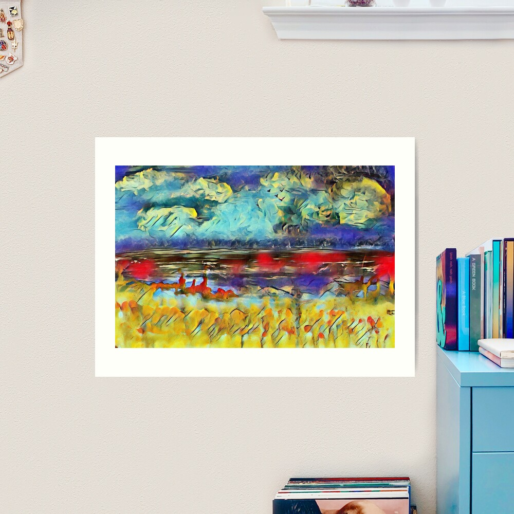 Seascape 1 a lovely original artwork created in acrylic and mixed media with a sprinkling of digital designed by (c) Janet Watson Art xx Art Print