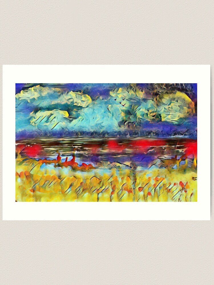 Alternate view of Seascape 1 a lovely original artwork created in acrylic and mixed media with a sprinkling of digital designed by (c) Janet Watson Art xx Art Print