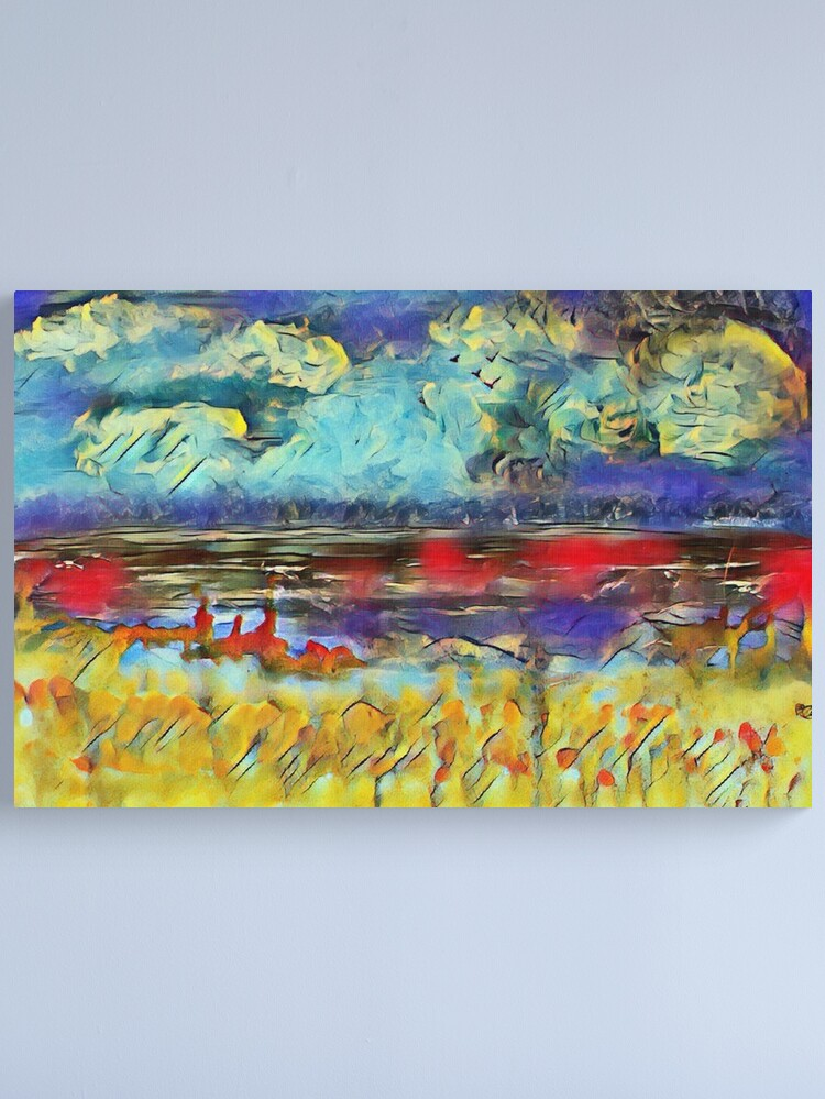 Alternate view of Seascape 1 a lovely original artwork created in acrylic and mixed media with a sprinkling of digital designed by (c) Janet Watson Art xx Canvas Print
