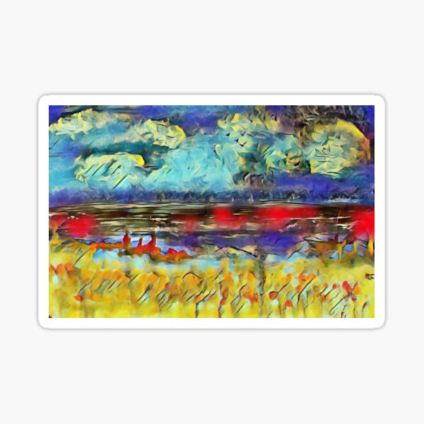 Seascape 1 a lovely original artwork created in acrylic and mixed media with a sprinkling of digital designed by (c) Janet Watson Art xx Sticker