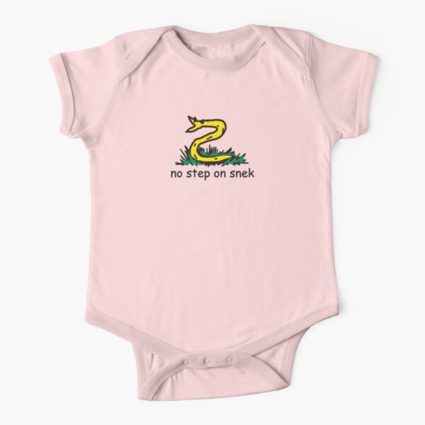 No Step on Snek BRIGHT MAGENTA PINK Snekright ANCAP Libertarian MAGA Kekistan funny kiddish snake Gadsden Flag Parody HD HIGH QUALITY Short Sleeve Baby One-Piece