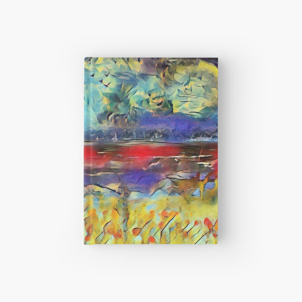 Seascape 1 a lovely original artwork created in acrylic and mixed media with a sprinkling of digital designed by (c) Janet Watson Art xx Hardcover Journal