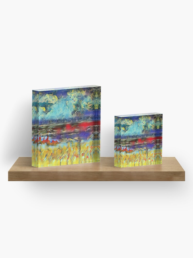 Alternate view of Seascape 1 a lovely original artwork created in acrylic and mixed media with a sprinkling of digital designed by (c) Janet Watson Art xx Acrylic Block