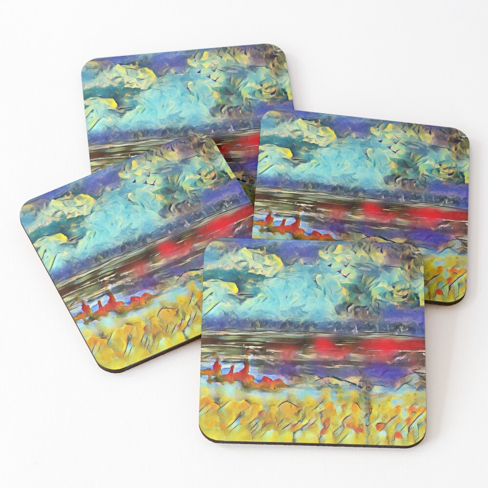 Seascape 1 a lovely original artwork created in acrylic and mixed media with a sprinkling of digital designed by (c) Janet Watson Art xx Coasters (Set of 4)