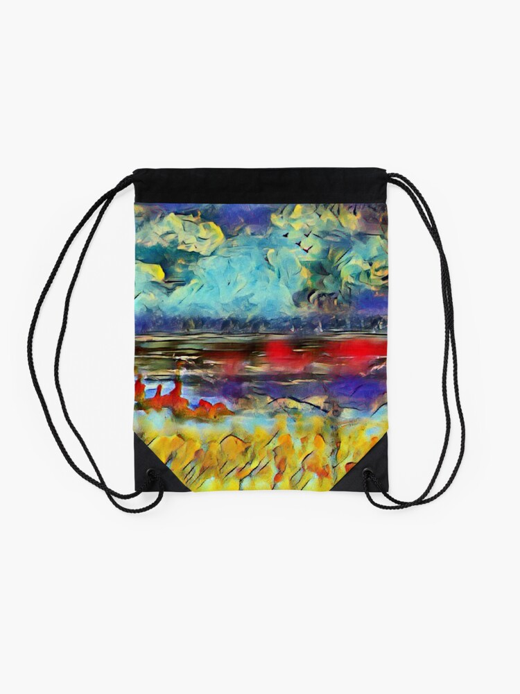 Alternate view of Seascape 1 a lovely original artwork created in acrylic and mixed media with a sprinkling of digital designed by (c) Janet Watson Art xx Drawstring Bag