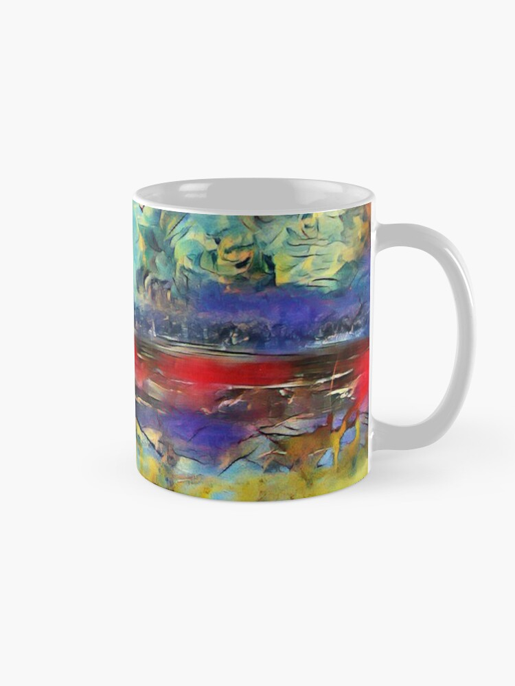 Alternate view of Seascape 1 a lovely original artwork created in acrylic and mixed media with a sprinkling of digital designed by (c) Janet Watson Art xx Mug