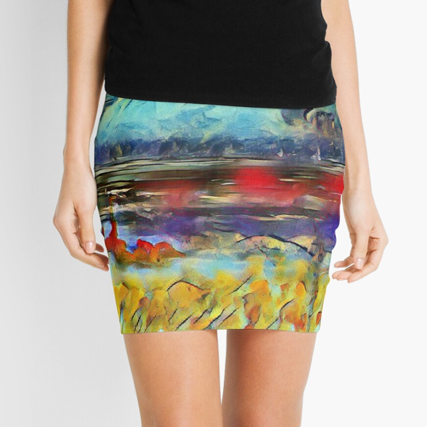 Seascape 1 a lovely original artwork created in acrylic and mixed media with a sprinkling of digital designed by (c) Janet Watson Art xx Mini Skirt