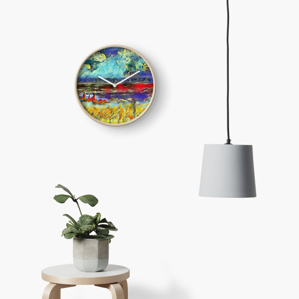 Seascape 1 a lovely original artwork created in acrylic and mixed media with a sprinkling of digital designed by (c) Janet Watson Art xx Clock